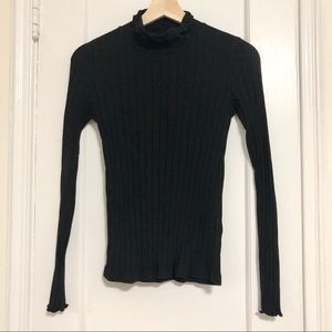 Madewell black ribbed scalloped turtleneck top XS